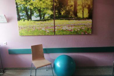 sala - fioletowa ściana, obraz na ścianie