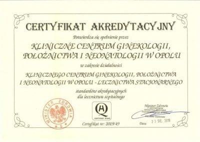 Certyfikat Akredytacyjny Klinicznego Centrum Ginekologii, Położnictwa i Neonatologii w Opolu
