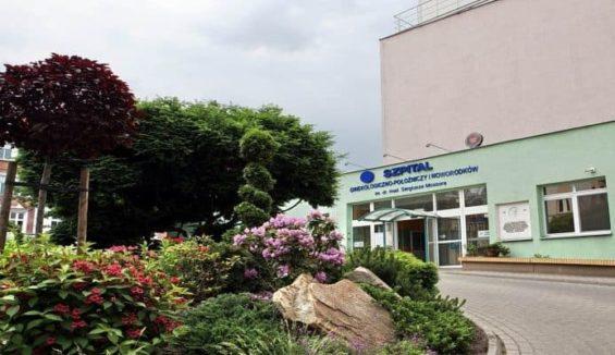 wejście do szpitala ginekologiczno - położniczego, kwiety