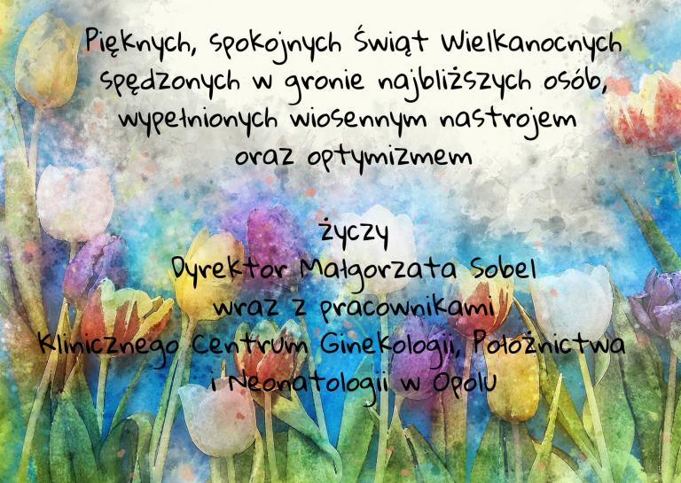 życzenia Z Klinicznego Centrum Napisane Na Tle Kolorowych Wiosennych Kwiatów